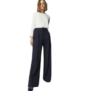 NWT Massimo Dutti Button Detail Trousers in Navy Blue